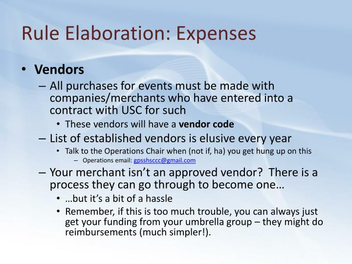 Rule Elaboration: Expenses