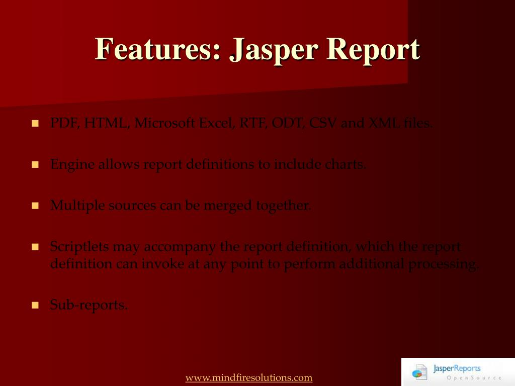 Features: Jasper Report