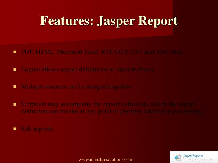 Features jasper report