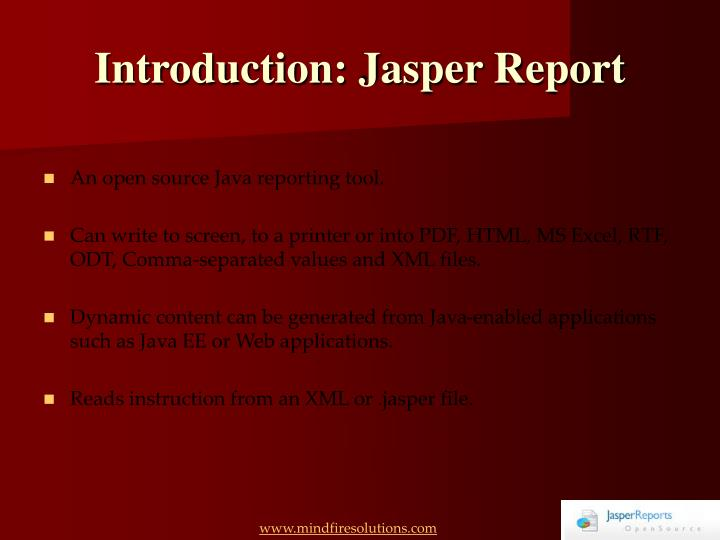 Introduction jasper report