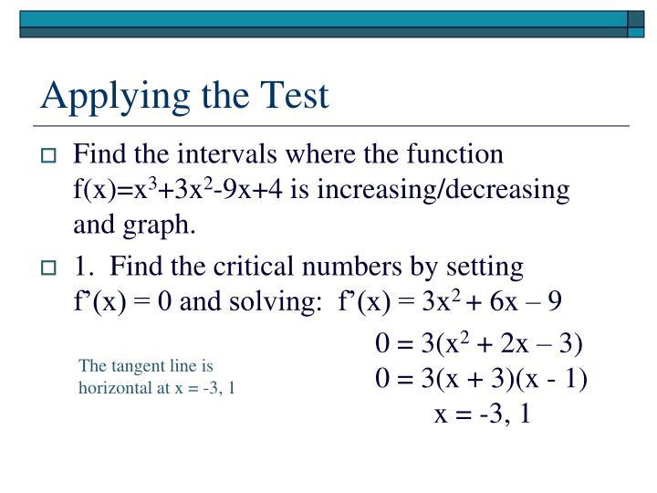 Applying the Test