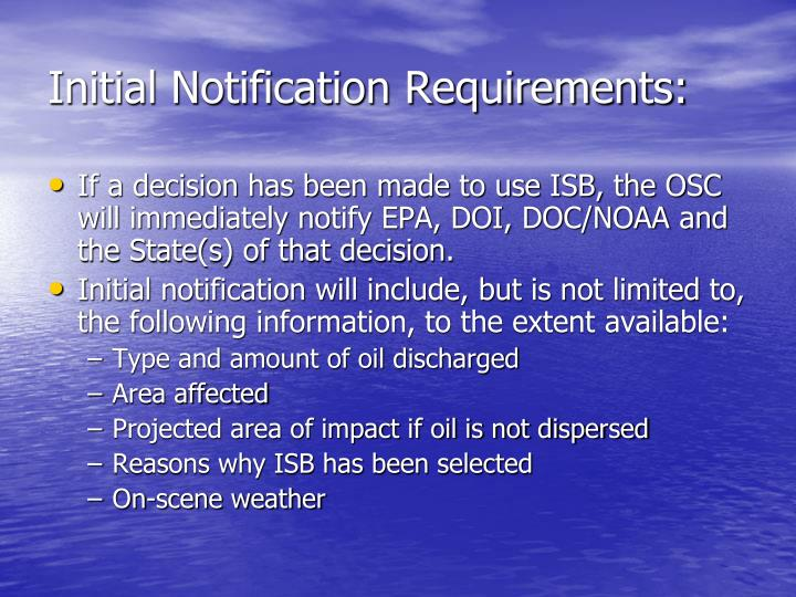 Initial Notification Requirements: