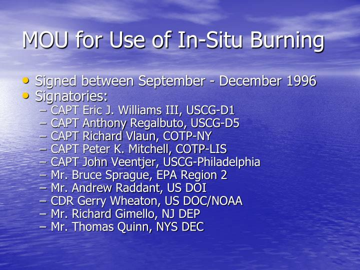 MOU for Use of In-Situ Burning