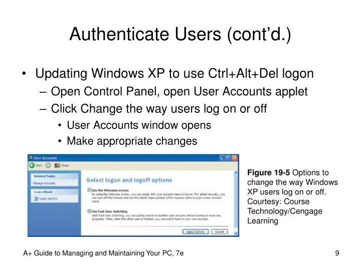 Authenticate Users (cont'd.)
