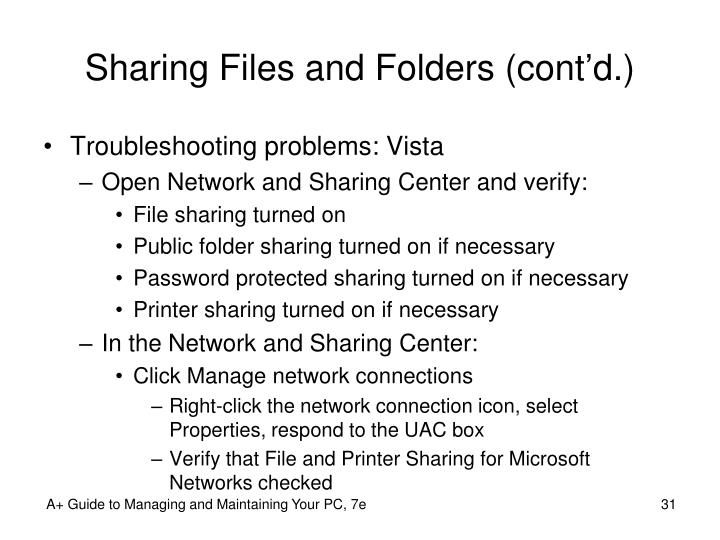 Sharing Files and Folders (cont'd.)