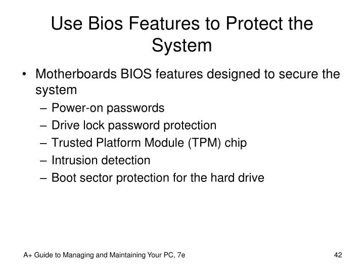 Use Bios Features to Protect the System
