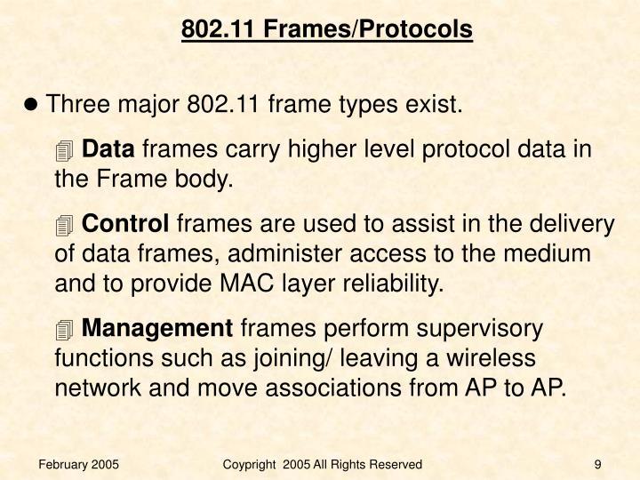 Three major 802.11 frame types exist.
