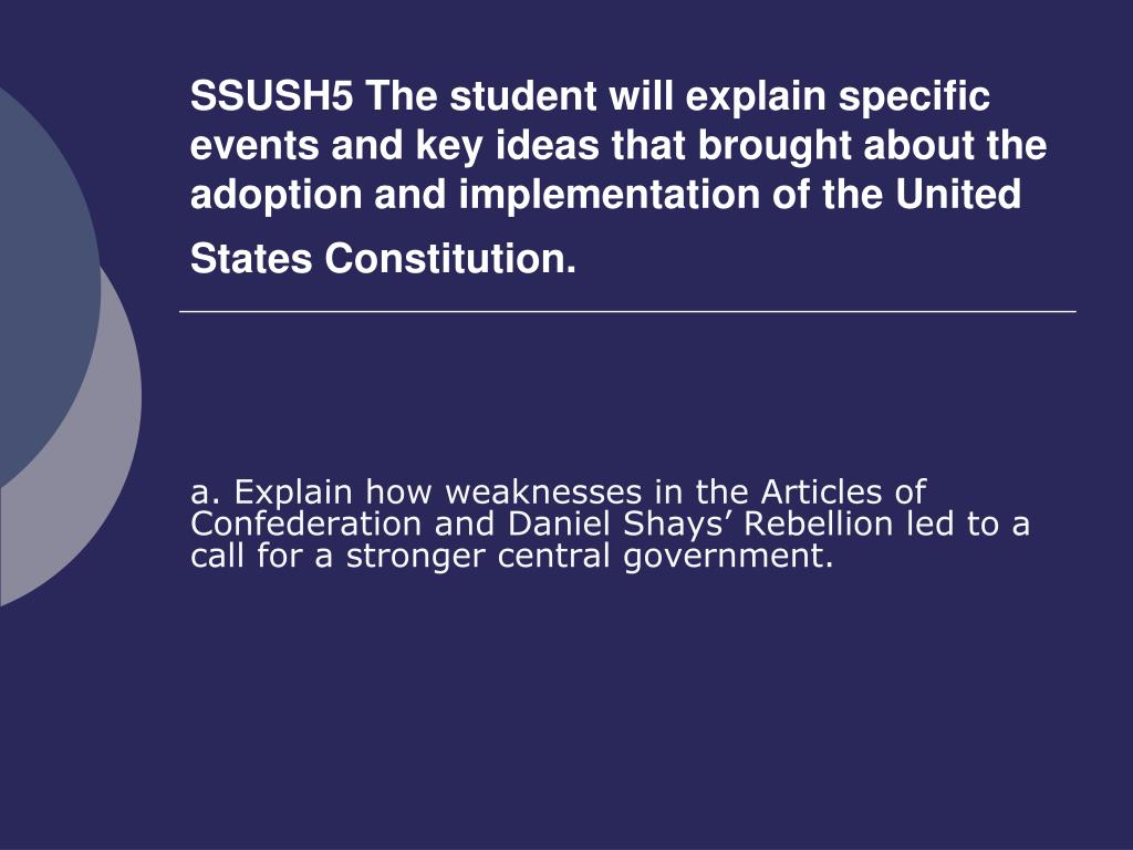 Ppt A Explain How Weaknesses In The Articles Of Confederation And