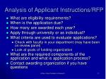 analysis of applicant instructions rfp