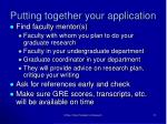 putting together your application