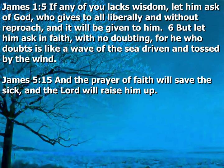 James 1:5 If any of you lacks wisdom, let him ask of God, who gives to all liberally and without reproach, and it will be given to him.  6 But let him ask in faith, with no doubting, for he who doubts is like a wave of the sea driven and tossed by the wind.