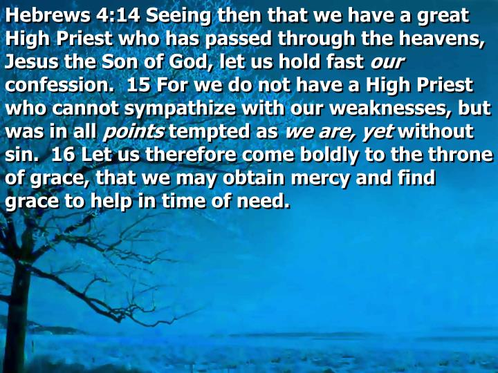 Hebrews 4:14 Seeing then that we have a great High Priest who has passed through the heavens, Jesus the Son of God, let us hold fast