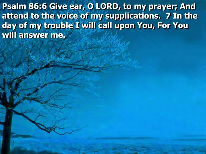 Psalm 86:6 Give ear, O LORD, to my prayer; And attend to the voice of my supplications.  7 In the day of my trouble I will call upon You, For You will answer me.