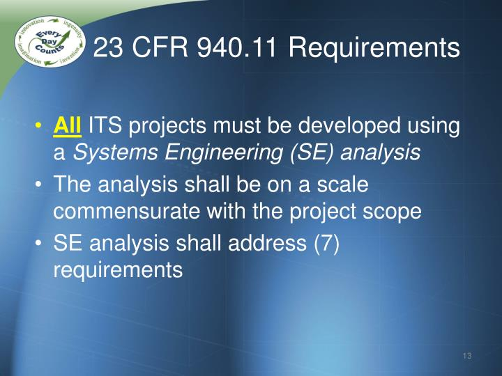 23 CFR 940.11 Requirements