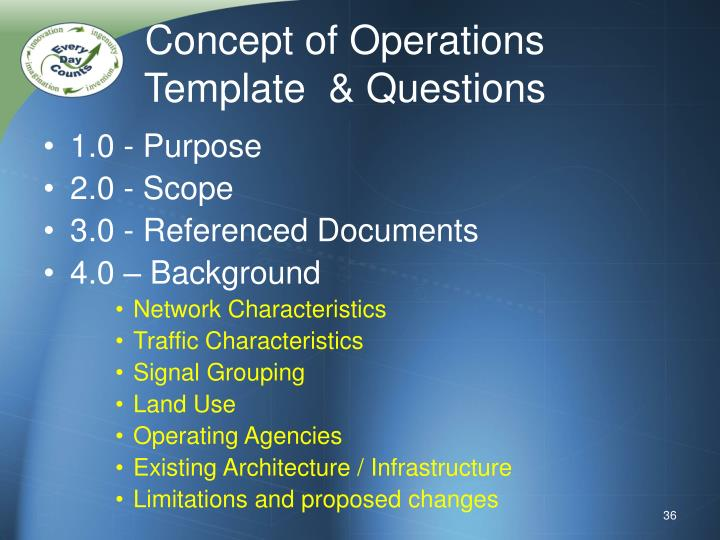 Concept of Operations Template  & Questions
