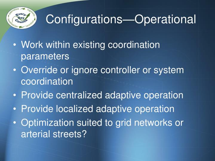 Configurations—Operational