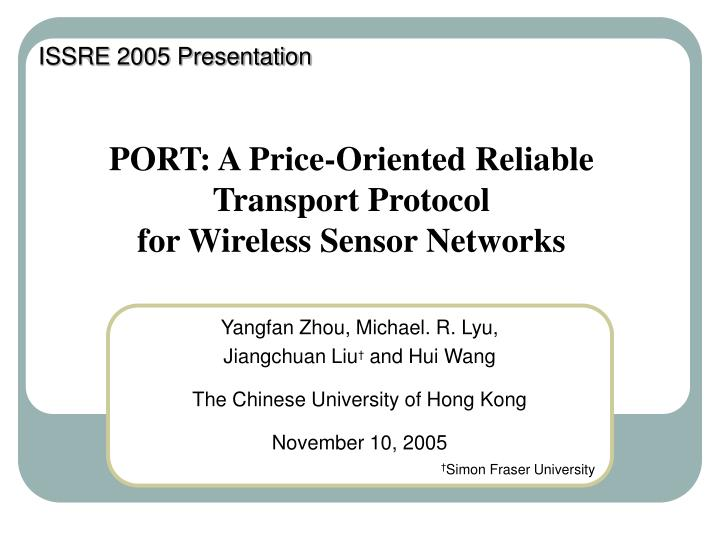 Port a price oriented reliable transport protocol for wireless sensor networks