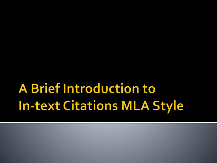a brief introduction to in text citations mla style n.