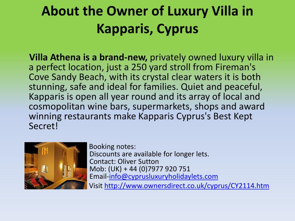 About the Owner of Luxury Villa in