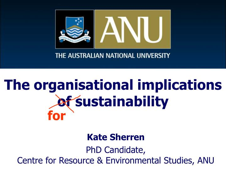 the organisational implications of sustainability n.
