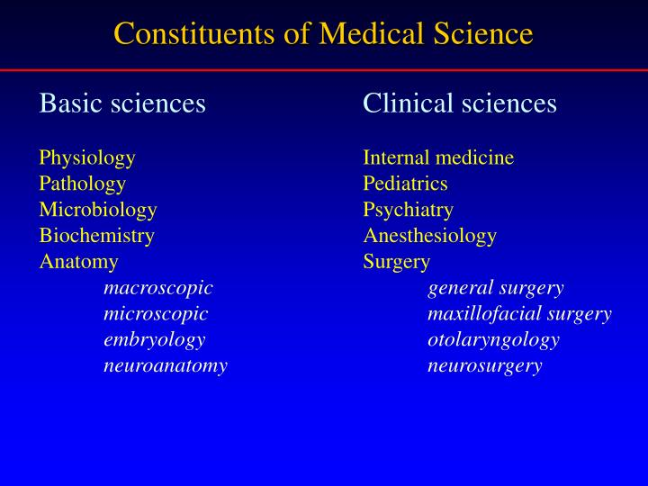 Constituents of Medical Science