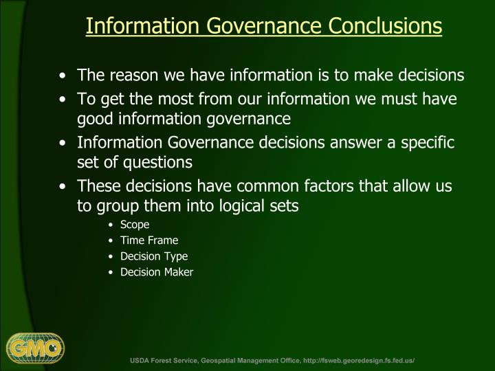 Information Governance Conclusions