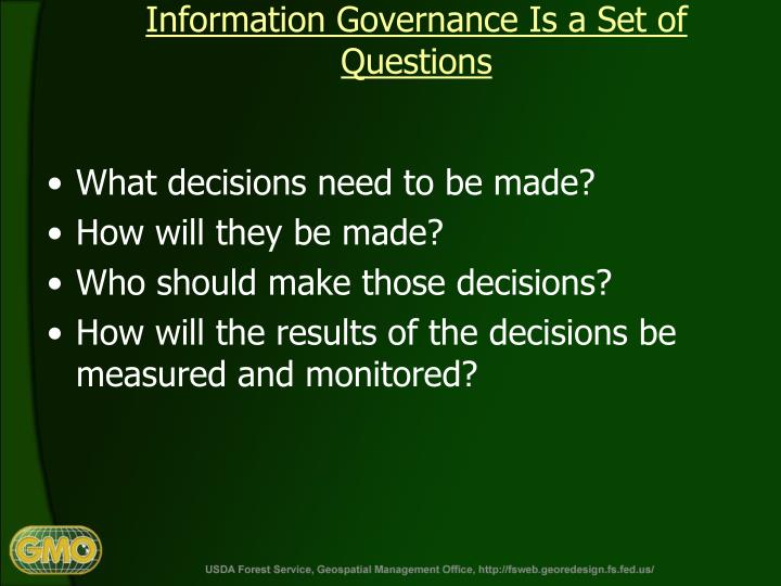 Information Governance Is a Set of Questions