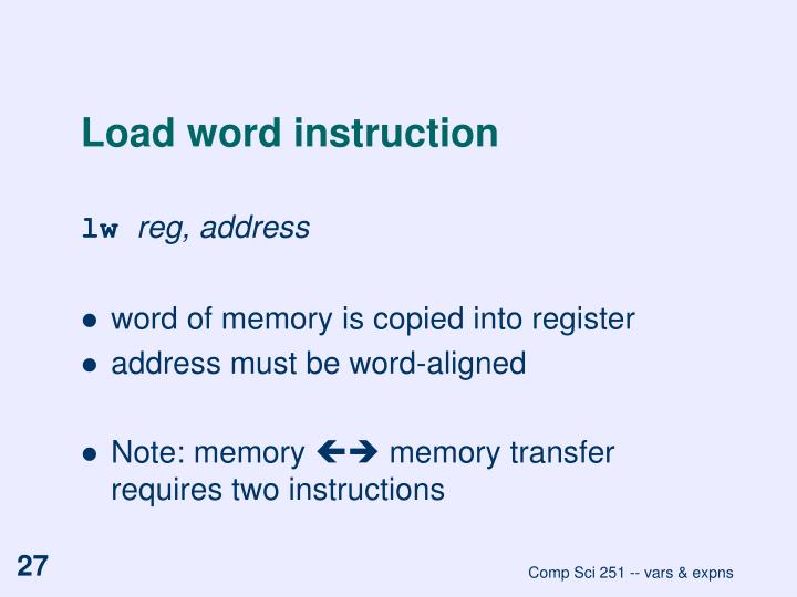 Load word instruction