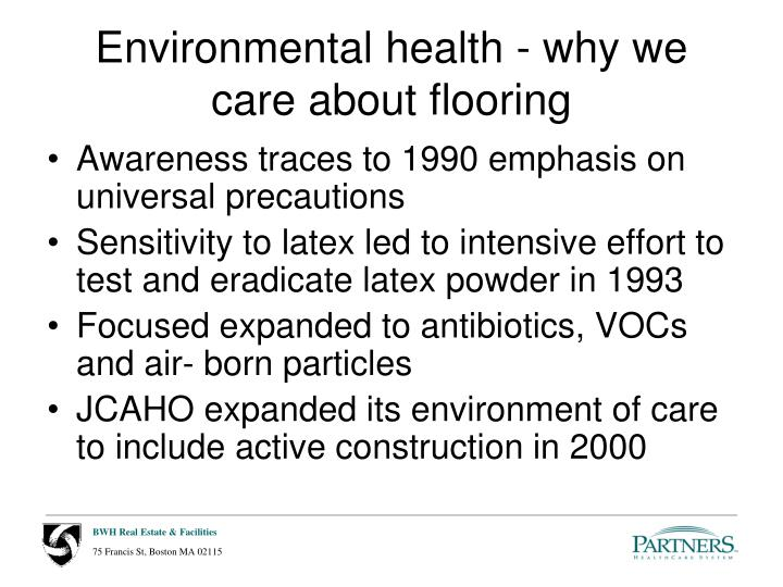 Environmental health - why we care about flooring
