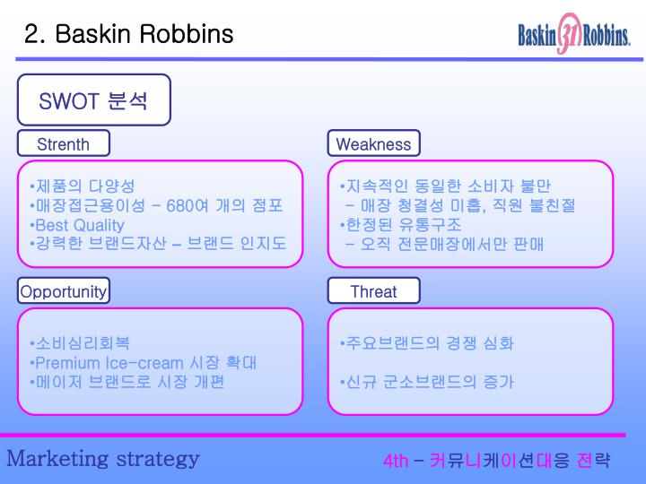 baskin robbins swot analysis Baskin-robbins: can it bask in the good 'ole days it was early december 2008,  and baskin-robbins brand officer ken kimmel had just returned from lunch to  his surprise, his walk  see below for help with this swot analysis for dunkin.