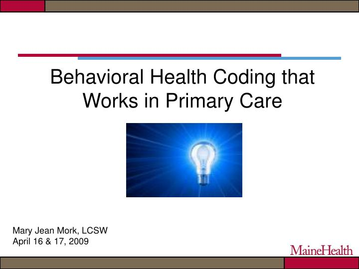 Behavioral health coding that works in primary care