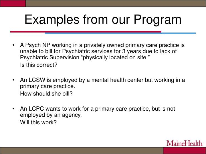 Examples from our Program