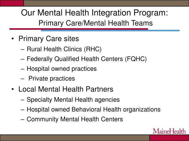 Our Mental Health Integration Program: