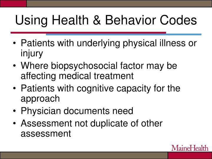 Using Health & Behavior Codes