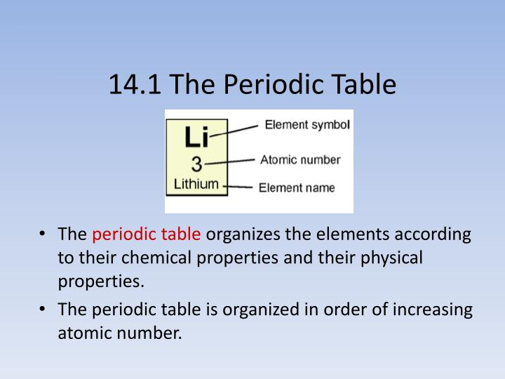 Ppt look at the following patterns what are the patterns based on 141 the periodic table the periodic table organizes the elements according urtaz Gallery