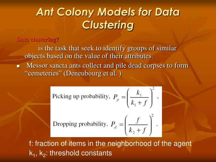 Ant Colony Models for Data Clustering