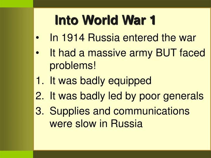 Into World War 1