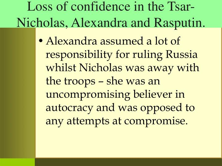 Loss of confidence in the Tsar-