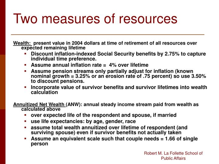 Two measures of resources