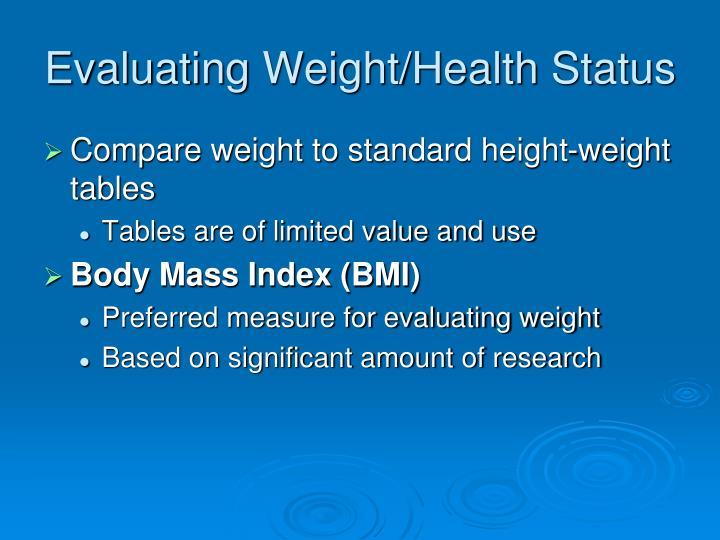 Evaluating Weight/Health Status