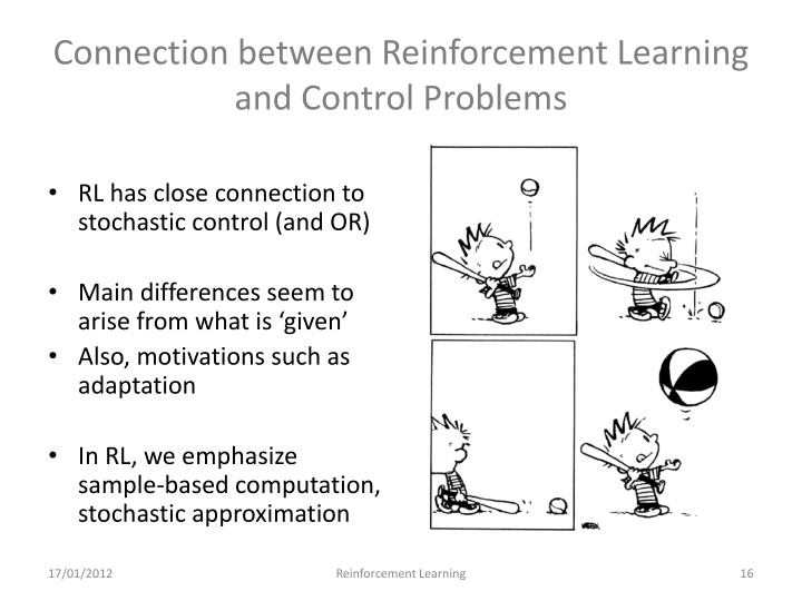 Connection between Reinforcement Learning and Control Problems