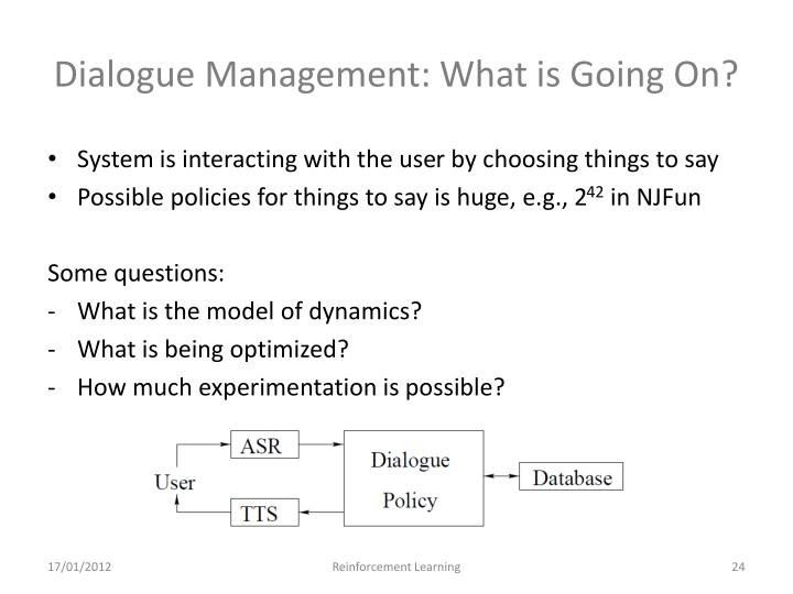 Dialogue Management: What is Going On?