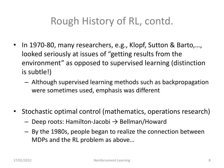 Rough History of RL, contd.