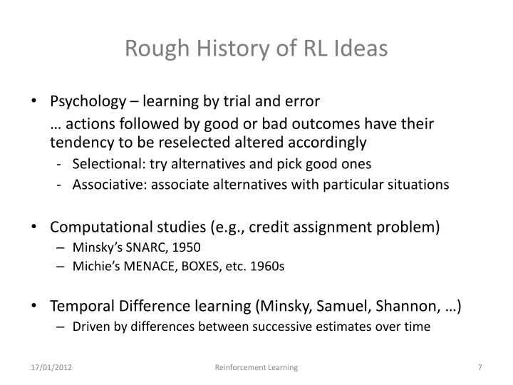 Rough History of RL Ideas