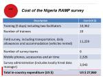 cost of the nigeria ramp survey