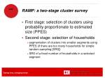 ramp a two stage cluster survey