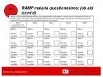 ramp malaria questionnaires job aid cont d