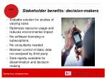 stakeholder benefits decision makers