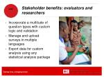 stakeholder benefits evaluators and researchers