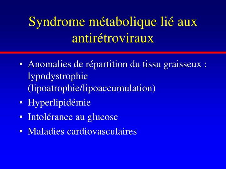 Syndrome métabolique lié aux antirétroviraux